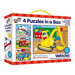 4 PUZZLES IN A BOX - VEHICLES