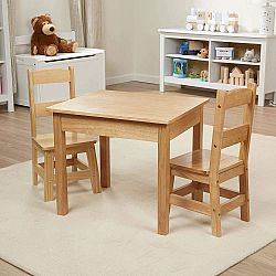 WOODEN TABLE & CHAIRS NATURAL