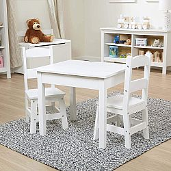 WOODEN TABLE & CHAIRS WHITE