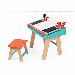 DESK & CHAIR ORANGE/BLUE